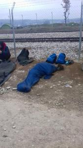 A refugee sleeping on the Greek/Macedonia Border - Taken by Refugee on Mobile Phone