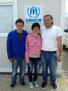 Left to Right: Jihad, Rama & Safwat inside Tabanovce Refugee Transit Camp, Macedonia Taken by a volunteer at Tabanovce