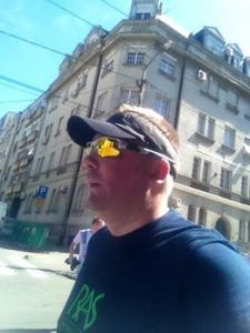 Mike running the Belgrade 5km for Refugee Aid Serbia