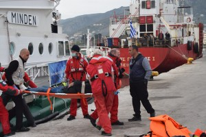German Coast Guard with a wounded refugee – German Coast Guard have also joined the fleet of coast guard ships between Turkey and Lesvos