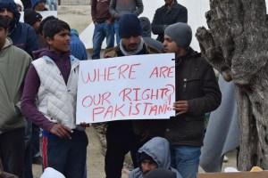 Pakistani Refugee protesting at Better Days for Moria Refugee Camp against deportation