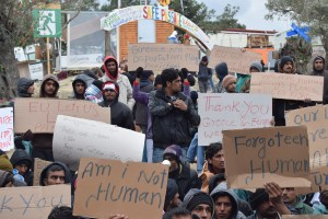 Pakistani refugees protesting in Lesvos against deportation