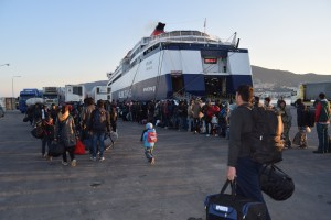 Refugees boarding the ferry to Athens from Lesvos