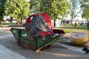 A tent that once belonged to a refugee, confiscated, destroyed and binned by the Serbian Police