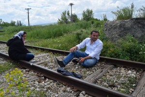 Safwat & Rama on the train track outside Tabanovce refugee Transit Camp