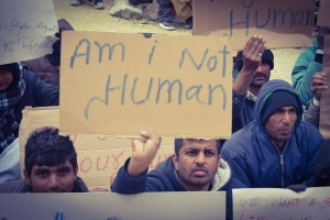 Pakistani's at Camp Moria protesting against deportation.
