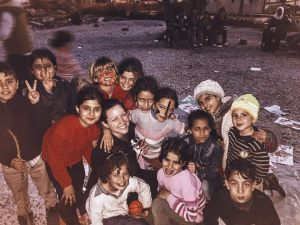 Nicolle Hodges with the kids from Kara Tepe Refugee Camp, Lesvos