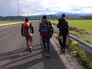 Refugees walking towards Idomeni